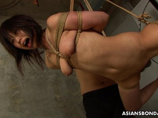 Tied up to a rope and sucking on the fellas   bondagesucking