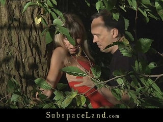 Sexy blonde bound and hard fucked in the forest   blondehardcorepark