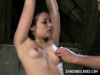 Young slave girl Pixie tied and whipped to tears in harsh small tit spanking | bondageslavespankingwhipyoung