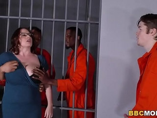 Busty Mom Maggie Green Takes Two BBCs in a Jail | busty