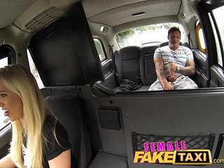Female Fake Taxi Stranded Builder Has a Stroke of Luck | femaletaxi