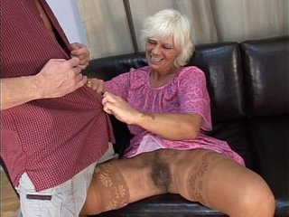 Mature hairy granny in absolute sex with young man on sofa | hairymatureold mansofayoung